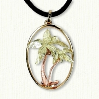 Tri-Color Gold Palm Tree Pendant, (Yellow, Green, and Red Gold)