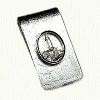 Sterling money clip with raised Montauk Lighthouse