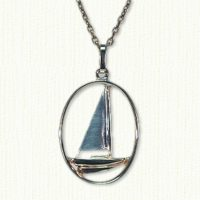 "14KY pierced sailboat pendant 1"" x 3/4"""