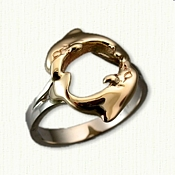 14kt Two Tone Gold Custom Dolphin Ring