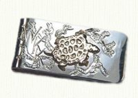 Sterling silver money clip with raised turtle
